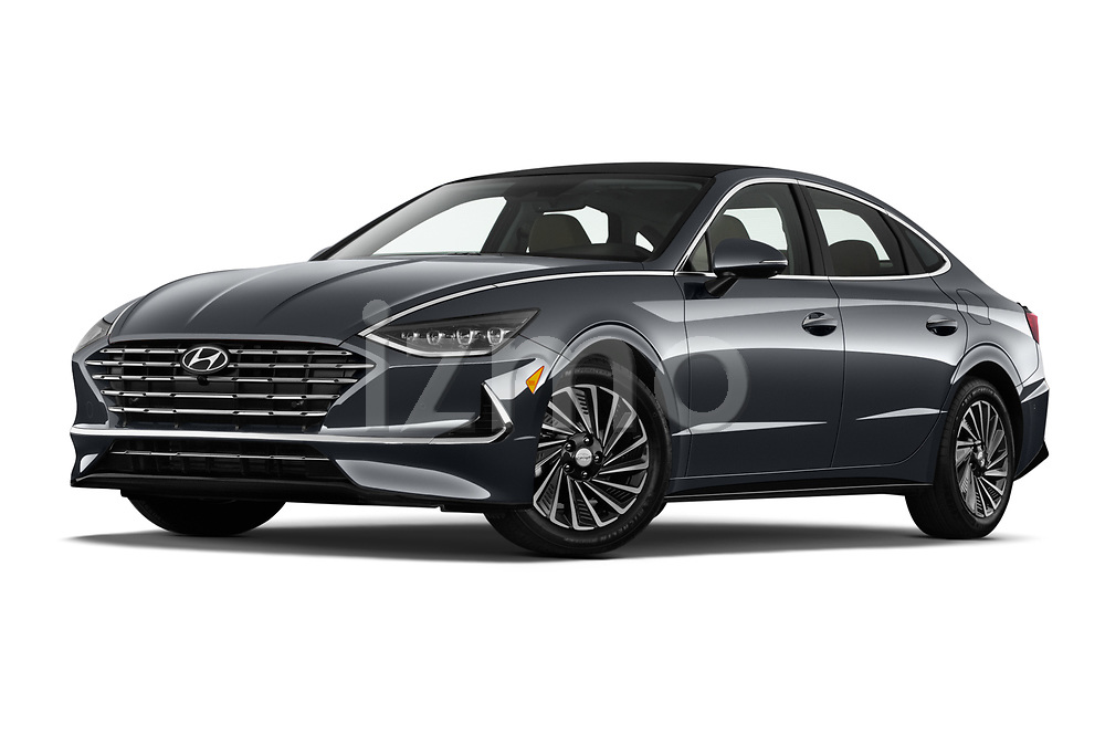Stock pictures of low aggressive front three quarter view of 2020 Hyundai Sonata-Hybrid Limited 4 Door Sedan Low Aggressive