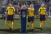 Entering the field - matchball taken by referee referee Lois Otte pictured before a female soccer game between  Racing Genk Ladies and Oud Heverlee Leuven on the fourth matchday of the 2020 - 2021 season of Belgian Scooore Womens Super League , friday 9 th of October 2020  in Genk , Belgium . PHOTO SPORTPIX.BE | SPP | STIJN AUDOOREN