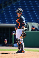 Cal State Fullerton Titans catcher Chris Hudgins (24) during a game against the Alabama State Hornets on February 14, 2015 at Bright House Field in Clearwater, Florida.  Alabama State defeated Cal State Fullerton 3-2.  (Mike Janes/Four Seam Images)