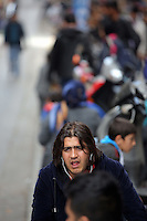 Pictured: Migrants in Heyden Street, Victoria Square Tuesday 08 March 2016<br /> Re: Migrants at Victoria Square, in central Athens, Greece.