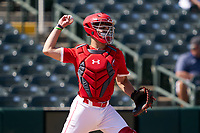 Catcher Ian Moller (42) throws down during the Baseball Factory All-Star Classic at Dr. Pepper Ballpark on October 4, 2020 in Frisco, Texas.  Ian Moller (42), a resident of Dubuque, Iowa, attends Wahlert Catholic High School.  (Ken Murphy/Four Seam Images)