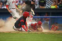 Batavia Muckdogs Marcos Rivera (8) slides under the tag of catcher Nic Perkins (43) as umpire Drew Saluga looks on to make the call during a game against the Auburn Doubledays on July 4, 2017 at Dwyer Stadium in Batavia, New York.  Batavia defeated Auburn 3-2.  (Mike Janes/Four Seam Images)