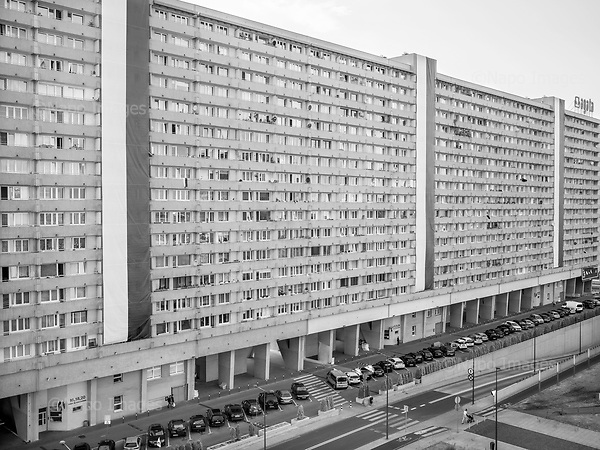 Katowice 14.08.2019 Poland<br /> Katowice, a residential building decorated with Polish flags on the Polish Army Day.<br /> Photo: Adam Lach