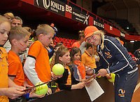 April 18, 2015, Netherlands, Den Bosch, Maaspoort, Fedcup Netherlands-Australia, Kids pressconference, Michaëlla Krajicek signing autographs <br /> Photo: Tennisimages/Henk Koster