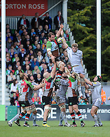 General view of a lineout during the Aviva Premiership match between Harlequins and Leicester Tigers at The Twickenham Stoop on Saturday 21st April 2012 (Photo by Rob Munro)