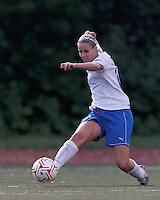 Boston Breakers midfielder Leslie Osborne (12) clears the ball. In a Women's Premier Soccer League Elite (WPSL) match, the Boston Breakers defeated New York Fury, 2-0, at Dilboy Stadium on June 23, 2012.