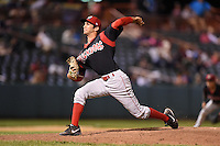 Batavia Muckdogs pitcher James Buckelew (8) delivers a pitch during a game against the Tri-City ValleyCats on August 2, 2014 at Joseph L. Bruno Stadium in Troy, New York.  Tri-City defeated Batavia 8-4.  (Mike Janes/Four Seam Images)