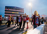 Aug 30, 2019; Clermont, IN, USA; Crew members for NHRA funny car driver Bob Bode celebrate during qualifying for the US Nationals at Lucas Oil Raceway. Mandatory Credit: Mark J. Rebilas-USA TODAY Sports