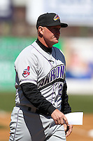Akron Aeros manager Chris Tremie #26 during a game against the Binghamton Mets at NYSEG Stadium on April 7, 2012 in Binghamton, New York.  Binghamton defeated Akron 2-1.  (Mike Janes/Four Seam Images)