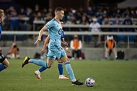 SAN JOSE, CA - AUGUST 17: Jan Gregus #8 of Minnesota United dribbles the ball during a game between San Jose Earthquakes and Minnesota United FC at PayPal Park on August 17, 2021 in San Jose, California.