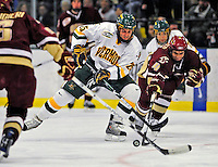 10 January 2009: University of Vermont Catamount forward Jonathan Higgins, a Junior from Stratham, NH, in action against the Boston College Eagles in the second game of a weekend series at Gutterson Fieldhouse in Burlington, Vermont. The Catamounts rallied from an early 2-0 deficit to defeat the visiting Eagles 4-2. Mandatory Photo Credit: Ed Wolfstein Photo