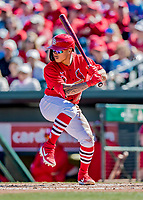 29 February 2020: St. Louis Cardinals infielder Kolten Wong in action during a game against the Washington Nationals at Roger Dean Stadium in Jupiter, Florida. The Cardinals defeated the Nationals 6-3 in Grapefruit League play. Mandatory Credit: Ed Wolfstein Photo *** RAW (NEF) Image File Available ***