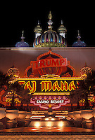 AJ4338, casino, Atlantic City, Taj Mahal, New Jersey, The entrance to Taj Mahal Casino Resort illuminated at night in Atlantic City in the state of New Jersey.