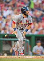 28 May 2016: St. Louis Cardinals third baseman Matt Carpenter in action against the Washington Nationals at Nationals Park in Washington, DC. The Cardinals defeated the Nationals 9-4 to take a 2-games to 1 lead in their 4-game series. Mandatory Credit: Ed Wolfstein Photo *** RAW (NEF) Image File Available ***