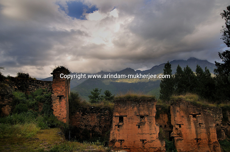 Drukgyal Dzong was a Fortress and Buddhist monastery, now in ruins, located in the upper part of the Paro valley in Paro District of Bhutan. The Dzong was probably built by Tenzin Drukdra in 1649 at the behest of Shabdrung Ngawang Namgyal to comemorate victory over an invasion from Tibet. In the early 1950's Drukgyal Dzong was almost completly destroyed by fire. Arindam Mukherjee..