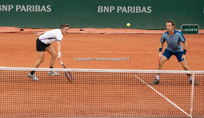 Paris, France, 4 june 2021, Tennis, French Open, Roland Garros, Mixed doubles first round  : Demi Schuurs (NED) and Wesley Koolhof (NED)<br /> Photo: tennisimages.com