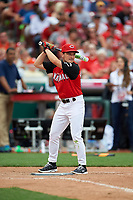 Josh Hutcherson bats during the All-Star Legends and Celebrity Softball Game on July 12, 2015 at Great American Ball Park in Cincinnati, Ohio.  (Mike Janes/Four Seam Images)