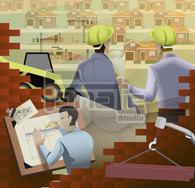 Illustrative representation of business construction