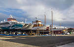Port Townsend, Boat Haven Marina, Kitsap fast ferry Lady Swift, yacht charter Discovery, schooner Adventuress on the hard, Port of Port Townsend, Olympic Peninsula, Puget Sound, Washington State, Pacific Northwest, USA,