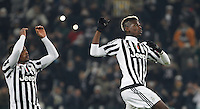 Calcio, Champions League: Gruppo D - Juventus vs Manchester City. Torino, Juventus Stadium, 25 novembre 2015. <br /> Juventus' Patrice Evra, left, and Paul Pogba greet fans at the end of the Group D Champions League football match between Juventus and Manchester City at Turin's Juventus Stadium, 25 November 2015. Juventus won 1-0.<br /> UPDATE IMAGES PRESS/Isabella Bonotto