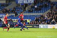 Omar Bogle of Cardiff City scores his sides second goal of the match during the Sky Bet Championship match between Cardiff City and Ipswich Town at The Cardiff City Stadium, Cardiff, Wales, UK. Tuesday 31 October 2017