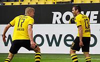 16th May 2020, Signal Iduna Park, Dortmund, Germany; Bundesliga football, Borussia Dortmund versus FC Schalke;  BVB Erling Haland  celebrates with Raphal Guerreiro as Guerreiro scores for 2:0