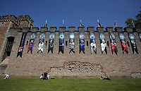 Pictured: A series of UEFA banners draped outside Cardiff Castle Thursday 25 May 2017<br />