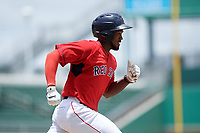 GCL Red Sox right fielder Chad Hardy (25) runs to first base during a game against the GCL Orioles on August 9, 2018 at JetBlue Park in Fort Myers, Florida.  GCL Red Sox defeated GCL Orioles 10-4.  (Mike Janes/Four Seam Images)