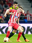 Atletico de Madrid's Kevin Gameiro (l) and Sporting Clube de Portugal's Rodrigo Battaglia during Europa League Quarter-finals, 1st leg. April 5,2018. (ALTERPHOTOS/Acero)