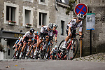 Leah Kirchman (CAN) Team Sunweb Women at the front of the peloton during La Fleche Wallonne Femmes 2020, running 124km from Huy to Mur de Huy, Belgium. 30th September 2020.<br /> Picture: ASO/Thomas Maheux | Cyclefile<br /> All photos usage must carry mandatory copyright credit (© Cyclefile | ASO/Thomas Maheux)