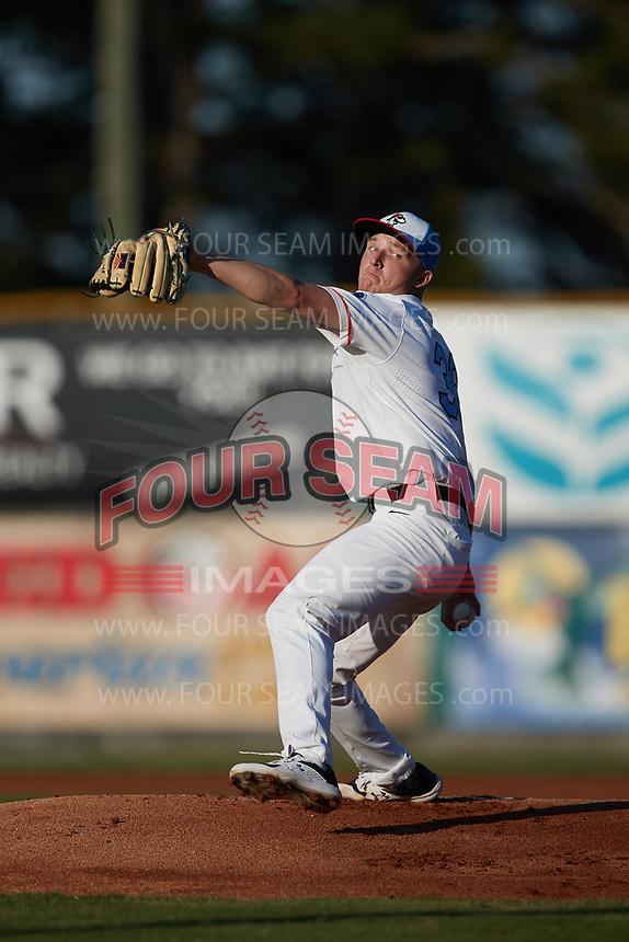 Burlington Sock Puppets starting pitcher Mason Gray (36) (Utah Valley) in action against the Danville Otterbots at Burlington Athletic Park on June 5, 2021 in Burlington, North Carolina. (Brian Westerholt/Four Seam Images)