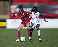 Carson Pickett (16) of Florida State fights for the ball with Shade Pratt (22) of Maryland during the game at Ludwing Field in College Park, MD.  Florida State defeated Maryland, 1-0.