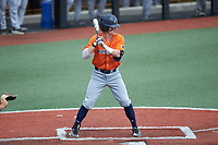 Ryan Hunt (6) of the UTSA Roadrunners at bat against the Charlotte 49ers at Hayes Stadium on April 18, 2021 in Charlotte, North Carolina. (Brian Westerholt/Four Seam Images)