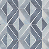 Simone, a waterjet stone mosaic, shown in polished Bardiglio and Pacifica with brushed Aluminum, is part of the Trove® collection for New Ravenna.<br /> *Not recommended for floor installations when using metal.