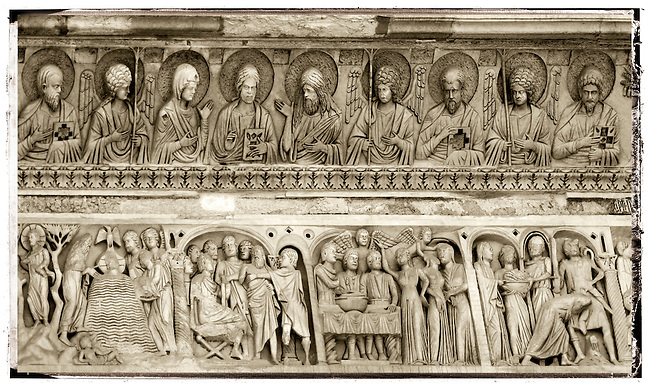 Bas relief feeze above the door of the Baptistry of Pisa Duomo, Italy