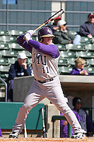 Matt Townsend of James Madison University hitting during a game against UC Irvine at the Baseball at the Beach Tournament held at BB&T Coastal Field in Myrtle Beach, SC on February 28, 2010.