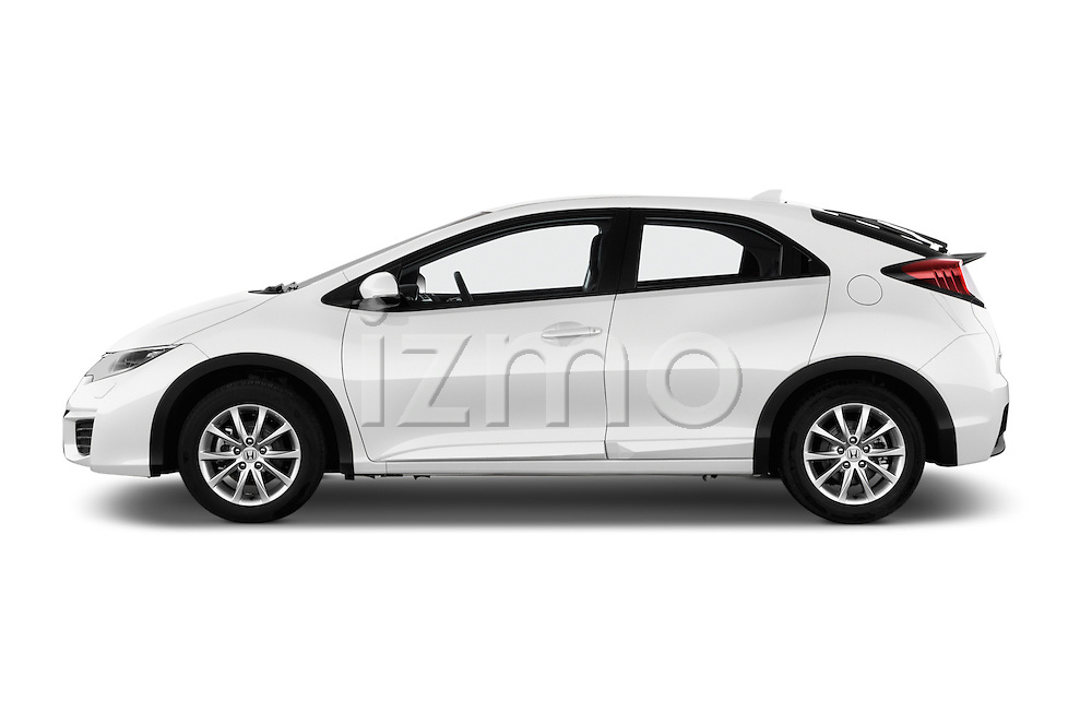 Car Driver side profile view of a 2015 Honda Civic Comfort 5 Door Hatchback Side View