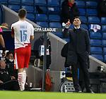 18.3.2021 Rangers v Slavia Prague: Steven Gerrard gestures to Ondrej Kudela shortly before the incident involving Kudela and Glen Kamara