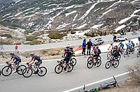 Maglia Rosa / Pink Jersey / GC Leader Egan Bernal (COL/Ineos Grenadiers) getting his jacket on up the Passo San Bernardino (2065m/SUI)<br /> <br /> 104th Giro d'Italia 2021 (2.UWT)<br /> Stage 20 (through Switzerland) from Verbania to Valle Spluga-Alpe Motta (164km)<br /> <br /> ©kramon