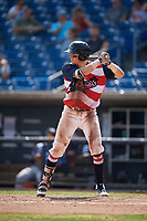 Quad Cities River Bandits catcher Michael Papierski (9) at bat during a game against the West Michigan Whitecaps on July 23, 2018 at Modern Woodmen Park in Davenport, Iowa.  Quad Cities defeated West Michigan 7-4.  (Mike Janes/Four Seam Images)