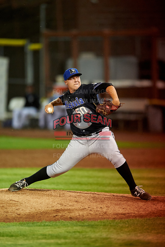 Missoula Osprey relief pitcher Landon Whitson (50) delivers a pitch during a Pioneer League game against the Idaho Falls Chukars at Melaleuca Field on August 20, 2019 in Idaho Falls, Idaho. Idaho Falls defeated Missoula 6-3. (Zachary Lucy/Four Seam Images)