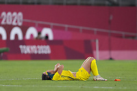 KASHIMA, JAPAN - AUGUST 5: Sam Kerr #2 of Australia reacts during a game between Australia and USWNT at Kashima Soccer Stadium on August 5, 2021 in Kashima, Japan.