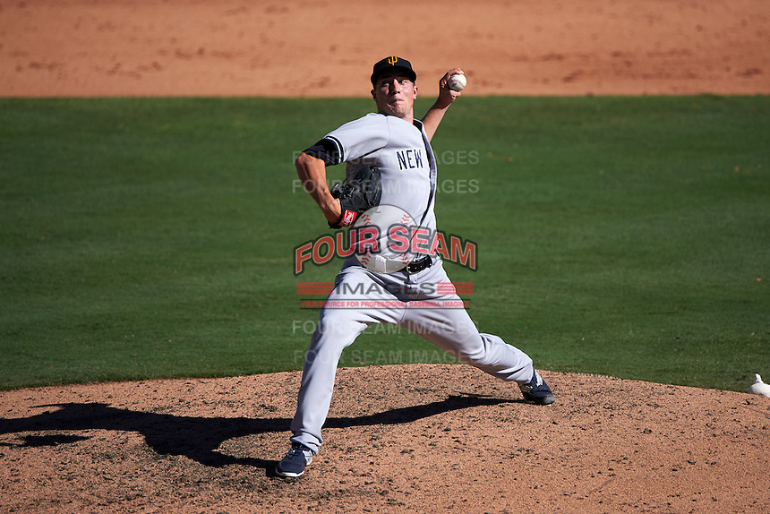Surprise Saguaros pitcher Chaz Hebert (11) delivers a pitch during an Arizona Fall League game against the Glendale Desert Dogs on October 24, 2015 at Camelback Ranch in Glendale, Arizona.  Surprise defeated Glendale 18-3.  (Mike Janes/Four Seam Images)