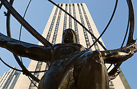 Bronze Statue of the Mythological Greek Titan Atlas (Designed by Lee Lawrie in 1937) Outside the Rockefeller Center International Building, 630 Fifth Avenue, Midtown Manhattan, New York City, New York State, USA