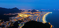 Rio de Janeiro south zone at night, located between the Tijuca Massif, the Atlantic Ocean and Guanabara Bay - in this region, the majority of the city's famous balneario beaches ( like Ipanema and Leblon at right )  are located, as well as the Lagoa Rodrigo de Freitas and Jockey Club do Brasil ( in the center ), much of the Tijuca National Park ( at left ), the Sugar Loaf hill, the Corcovado hill, where the famous statue of Christ the Redeemer stands, and other natural wonders and tourist attractions. It is the richest region of the city, and is visited by thousands of tourists from different parts of the world throughout the year.