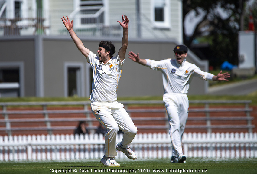 Jamie Gibson appeals during day four of the Plunket Shield match between the Wellington Firebirds and Canterbury at Basin Reserve in Wellington, New Zealand on Thursday, 22 October 2020. Photo: Dave Lintott / lintottphoto.co.nz