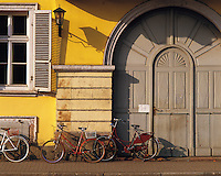 Bicycles/doorway/window/shutters, main square, Heidelburg, Bavaria, southern German