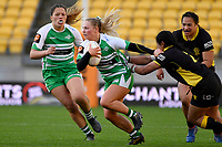 Carys Dallinger of the Manawatu is tackled during the Farah Palmer Cup Rugby – Wellington v Manawatu at Sky Stadium, Wellington, New Zealand on Friday 25 September 2020. <br /> Photo by Masanori Udagawa. <br /> www.photowellington.photoshelter.com