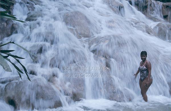 Women enjoying falls, Dunn's River Falls, Ocho Rios, Jamaica, January 2005