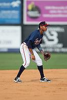 Danville Braves shortstop Derian Cruz (4) on defense against the Pulaski Yankees at American Legion Post 325 Field on July 31, 2016 in Danville, Virginia.  The Yankees defeated the Braves 8-3.  (Brian Westerholt/Four Seam Images)